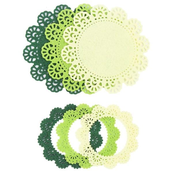 Folia Filzrähmchen, gelb/grün/dunkelgrün, Ø 7cm & 10cm, 6 Stück