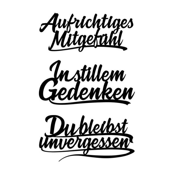 Stanzschablonen, Schriften, Kondolenz 1, 3,6cm bis 8,3cm, 3 Stück