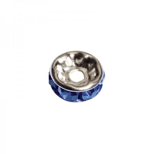 Strass-Rondell mit Strass-Steinen, Ø0,8 cm, 10 Stück, silber/azurit