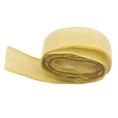 Deko-Schlauchband, metallic-gold, 3,5 cm x 5 m