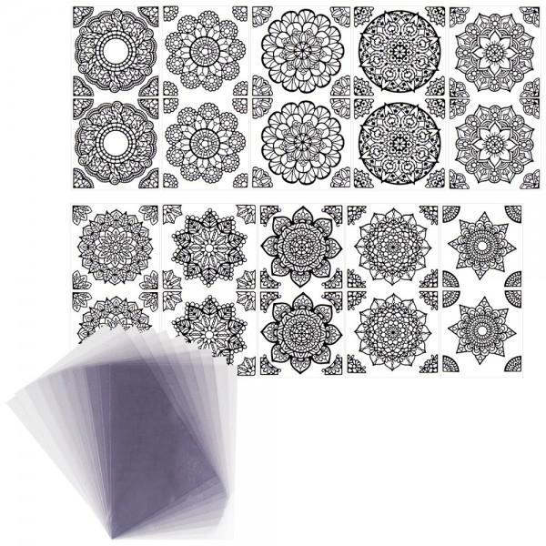 Mandala-Sticker, schwarz, Lackfolie, 10 Bogen inkl. Windradfolie