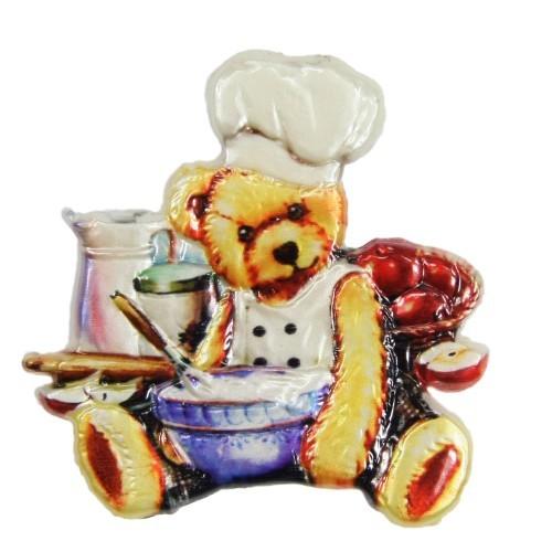 Wachsornament, Teddy-Koch, farbig, geprägt, 7x7 cm