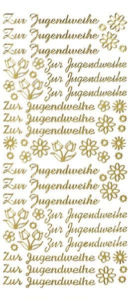 Sticker, Schrift, Zur Jugendweihe, gold