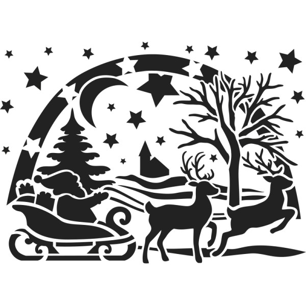 Fenster-Kunststoff-Schablone, DIN A4, Weihnachtsmann mit Schlitten