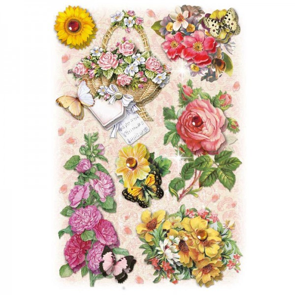 3-D Stickerbogen, Gartenblumen 7, 12,7 x 18,8 cm