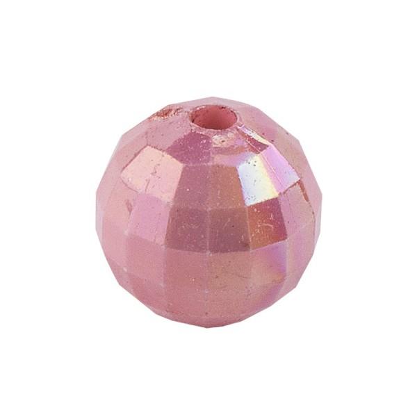 Perlen, facettiert, Ø 10mm, rosenholz-irisierend, 50 Stück