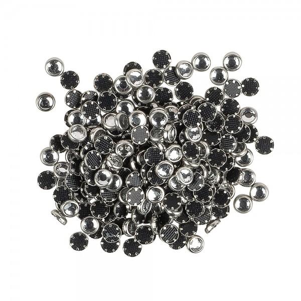 Hot-Fix Glas-Kristalle zum Aufbügeln, Ø 4mm, silber, 200 Stück
