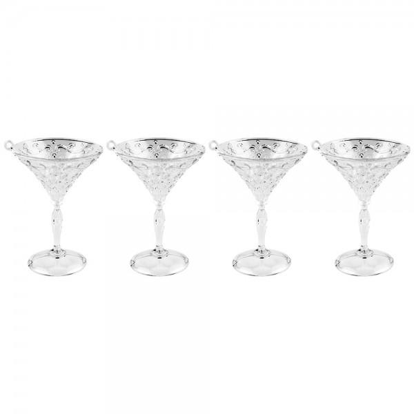Deko-Cocktail-Gläser, Ø 6,5cm x 9,5cm, klar, zum Aufhängen, 4 Stück