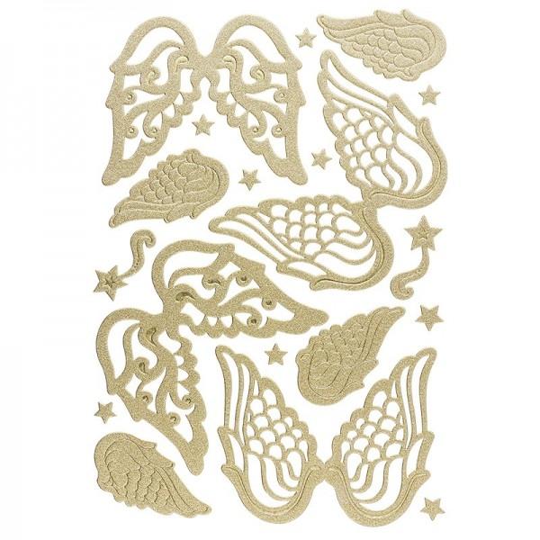 3-D Sticker, Deluxe Engelsflügel, verschiedene Größen, selbstklebend, gold
