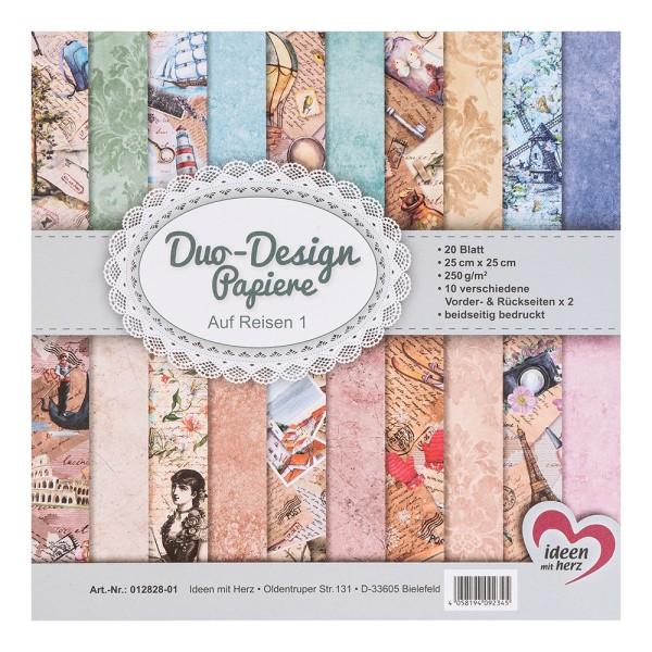 Duo-Design-Papiere, Auf Reisen 1, beidseitig bedruckt, 25cm x 25cm, 250g/m², 20 Blatt