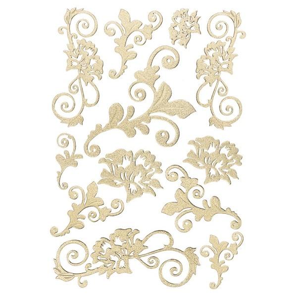 3-D Sticker, Deluxe Blumenranken, 21cm x 30cm, selbstklebend, gold