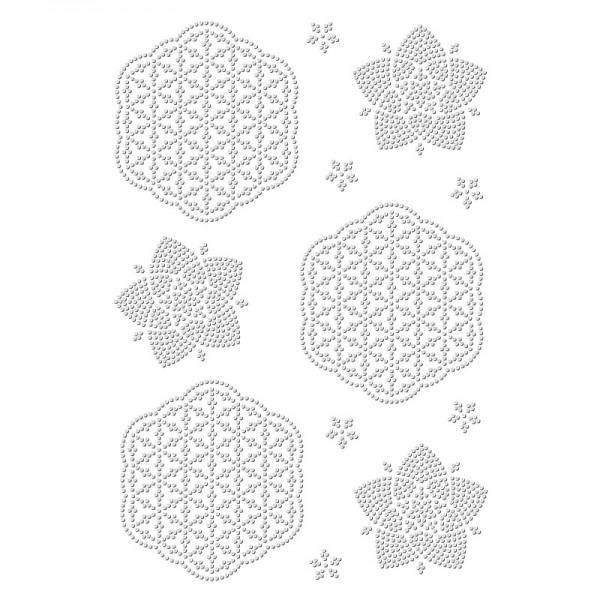 Bügelstrass-Design, DIN A4, einfarbig, klar, Blume des Lebens