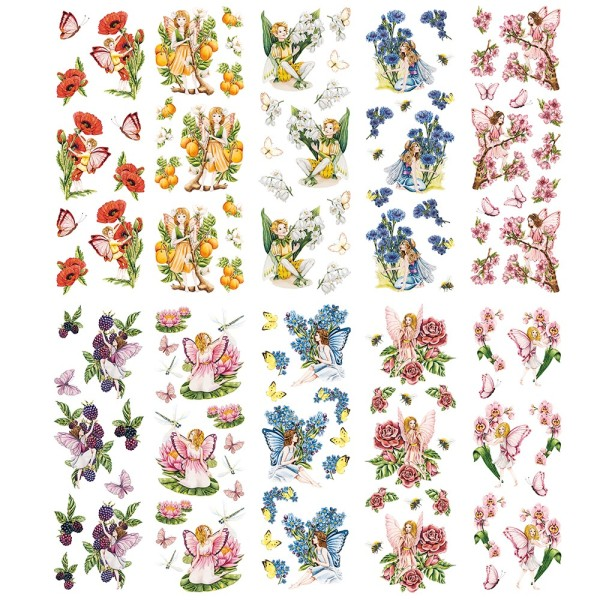 Transparent-Stickerbogen, Zauberhafte Elfen 2, verschiedene Designs, 10cm x 30cm, 10 Bogen