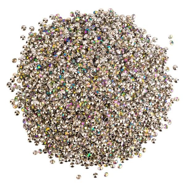 Streu-Diamanten, 4mm x 3mm, klar, irisierend, 90g