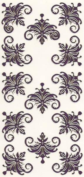 Microglitter-Sticker, Schnörkelornament 1, violett