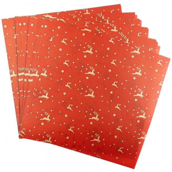 Faltpapiere, transparent, Hirsche, 20cm x 20cm, 110 g/m², rot/gold, 100 Stück