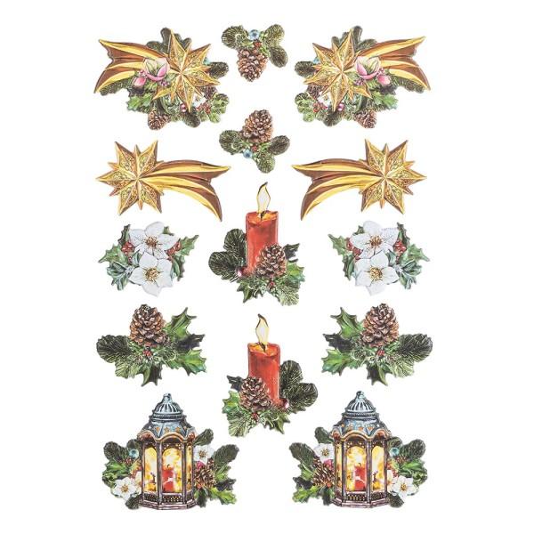 3-D Relief-Sticker, Vintage-Weihnachten 4, verschiedene Größen, selbstklebend