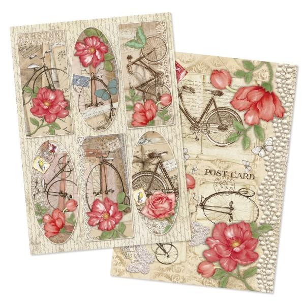"""Reispapiere, Nostalgie """"Blüten 7"""", DIN A4, 2 Designs"""