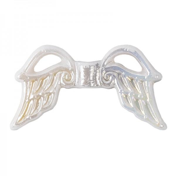 Engelsflügel aus Acryl, Design 3, 1,9 cm, weiß-irisierend, 100 Stück