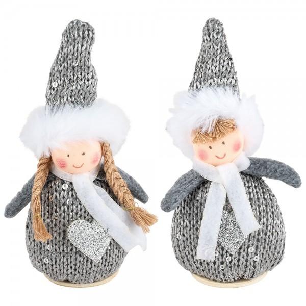 Winter-Püppchen, Ella & Linus, 15cm hoch, zum Hinstellen, grau-meliert, 2 Stück