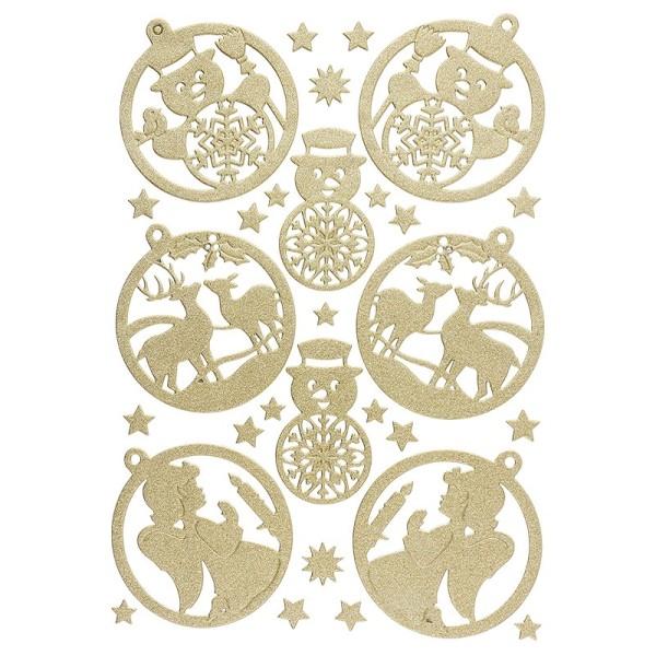 3-D Sticker, Deluxe Anhänger, verschiedene Größen, selbstklebend, gold