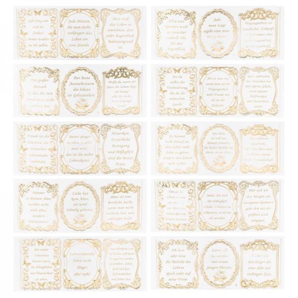 Gravur-Sticker, Lebens-Sprüche, 10 Bogen