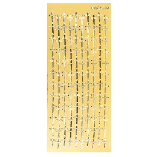 Sticker, Kreuze, Spiegelfolie gold