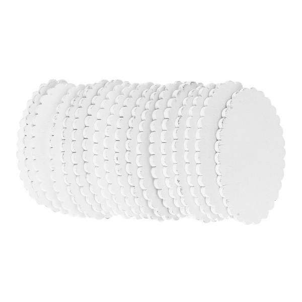 Ovale, Holz, 10,8cm x 6,5cm x 0,5cm, weiß, 18 Stück