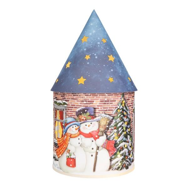 LED-Lichthaus, Nostalgische Weihnacht 1, Ø 11cm, 22cm hoch, inkl. Draht-Lichterkette, mit Timer