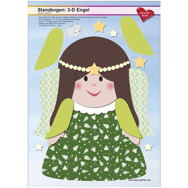 Stanzbogen, 3-D Engel, DIN A4, Design 8, 2er Set