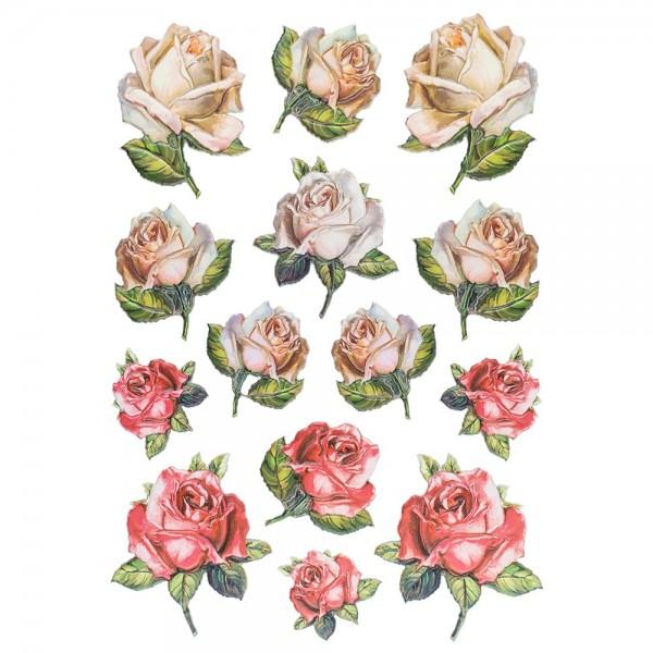 3-D Relief-Sticker, Blumen 3, 21cm x 30cm, verschiedene Größen, selbstklebend