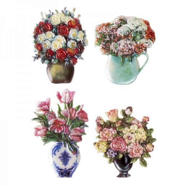 Wachsornamente, Blumenvasen 2, 4 Stück