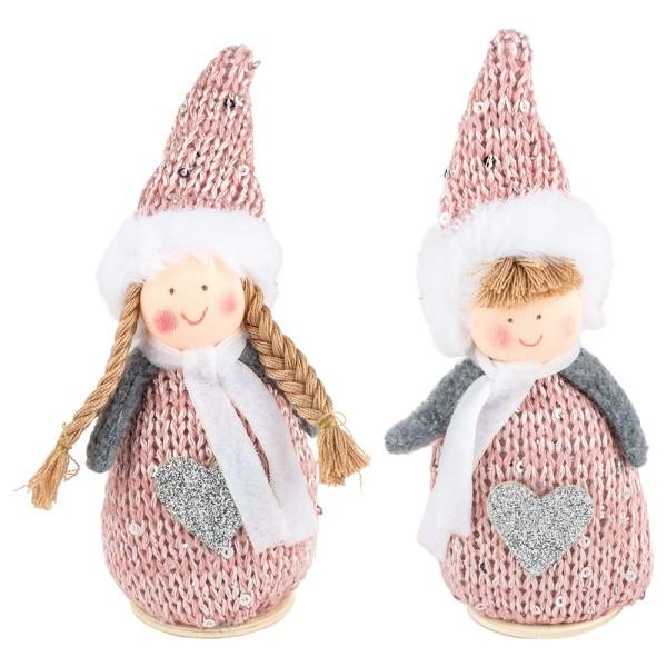 Winter-Püppchen, Sarah & Theo, 15cm hoch, zum Hinstellen, rosé-meliert, 2 Stück