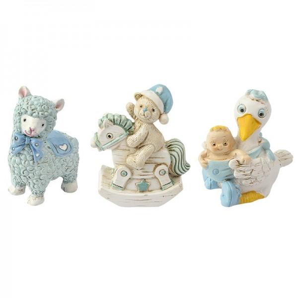 Deko-Figuren, zur Geburt, hellblau, Teddy & Schaukelpferd, Lama, Storch, 3 Stück