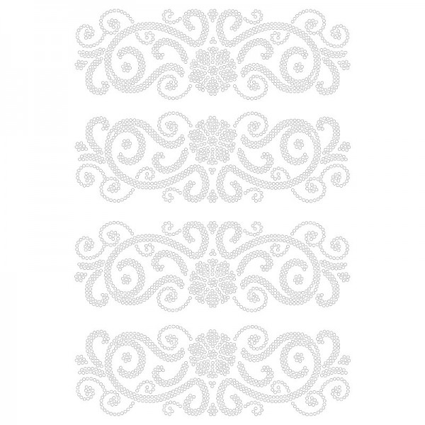 Bügelstrass-Design, DIN A4, klar, Ornamente 10