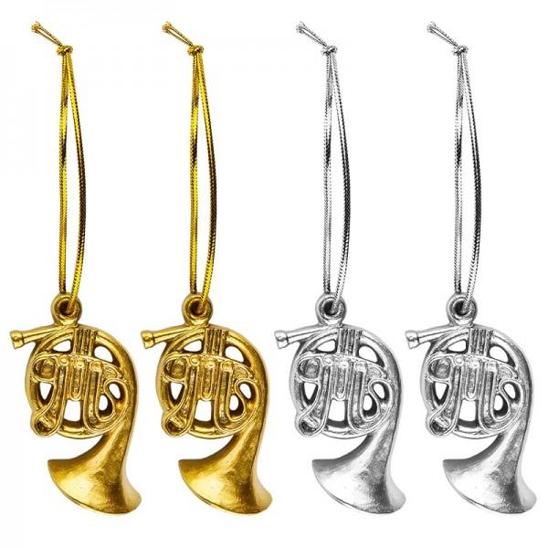 Relief-Figuren, Blasinstrumente, 5,5cm x 3,8cm, mit Aufhängung, 4 Stück