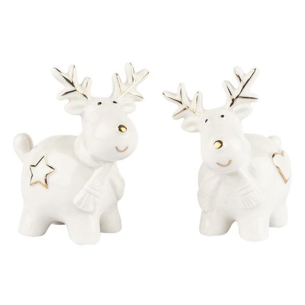 Porzellan-Figuren, Rentiere, 8cm x 7,5cm x 4,2cm, weiß, mit Goldverzierung, 2 Stück