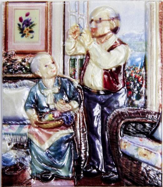 Wachsbild, Oma & Opa am Fenster, 8 x 7 cm