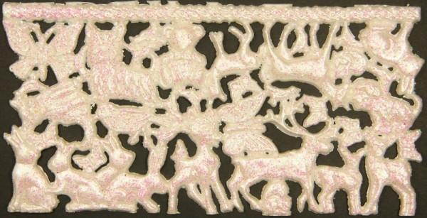 Wachsornament-Platte Tiere, ca. 16 x 8 cm, weiß-perlmutt