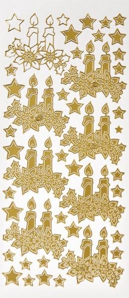 Sticker, Kerzen mit Weihnachtssternen, Perlmuttfolie, gold