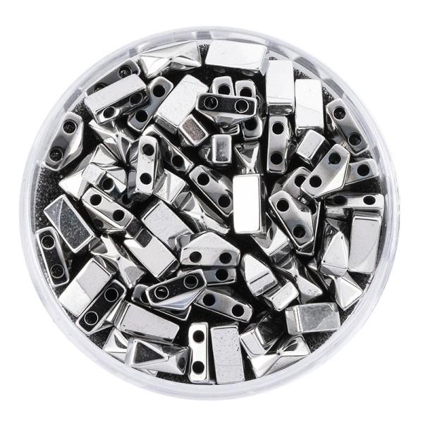 Hämatit-Perlen, Pyramide, 4mm x 6mm x 3mm, chromoptik-silber, 60 Stück
