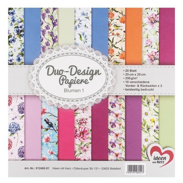 Duo-Design-Papiere, Blumen 1, beidseitig bedruckt, 25cm x 25cm, 250g/m², 20 Blatt