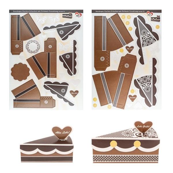 Stanzbogen, Kuchen-Schachteln, Design 3b & 3c, DIN A4, 10 Stück