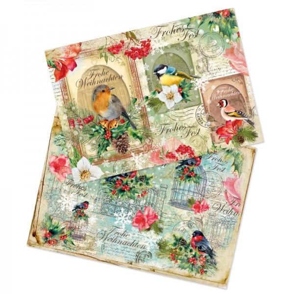 """Reispapiere, Weihnachten """"Vögel"""", DIN A4, 2 Designs"""