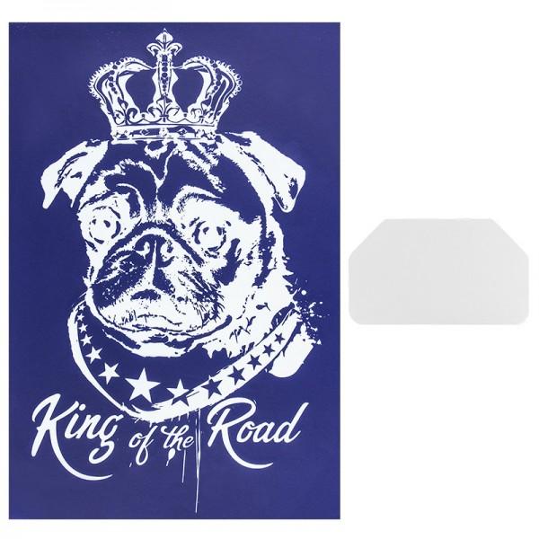 Siebdruckschablone Mops, King of the road, 32,5cm x 22,5cm, selbstklebend, inkl. Rakel
