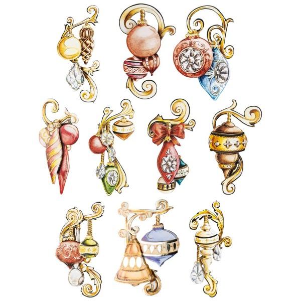 3-D Motive, Weihnachtskugeln Vintage, 4,5-13cm, 10 Motive