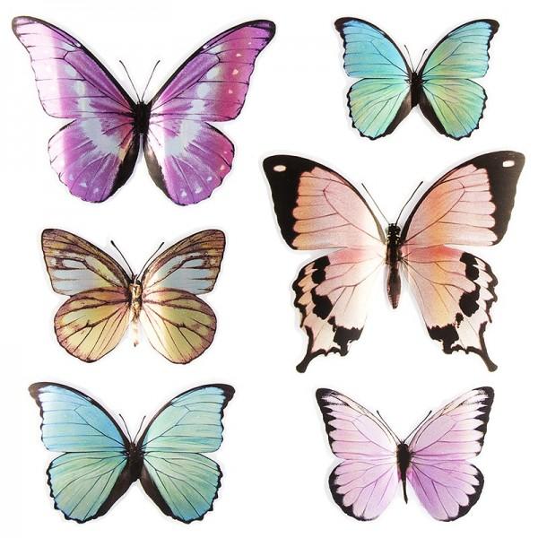 Pop-Up Sticker, Schmetterlinge 4, 19cm x 21cm, verschiedene Farbtöne, 6 Sticker