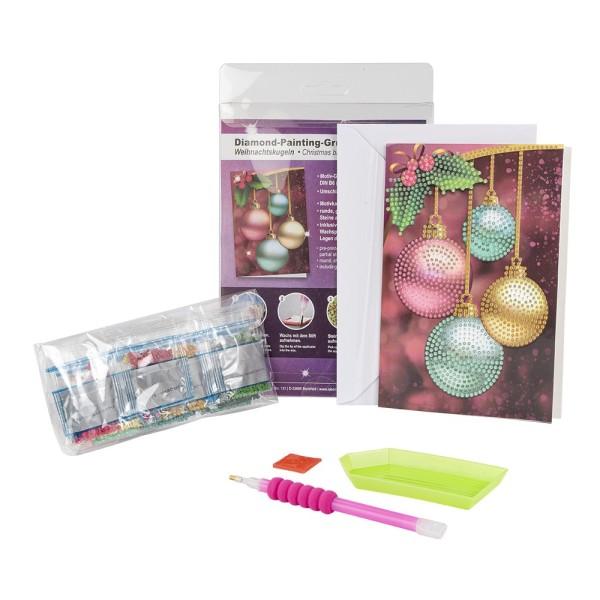 Diamond-Painting-Grußkarte, Weihnachtskugeln, 11,5cm x 16,5cm, 370g/m², inkl. Umschlag & Werkzeug