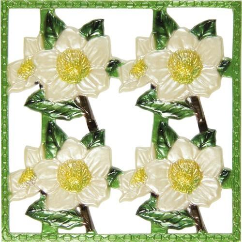 Wachsornament-Platte Christrose, weiß, geprägt, 10x10cm