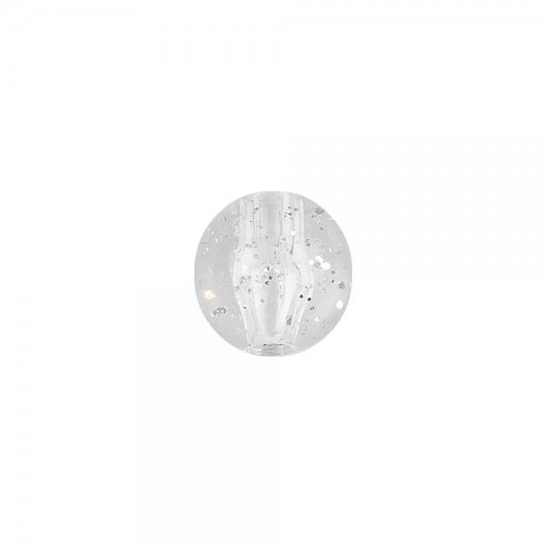 Perlen, rund mit Glitzer, Ø 0,9cm, transparent, klar, mit silbernem Glitzer, 100 Stück
